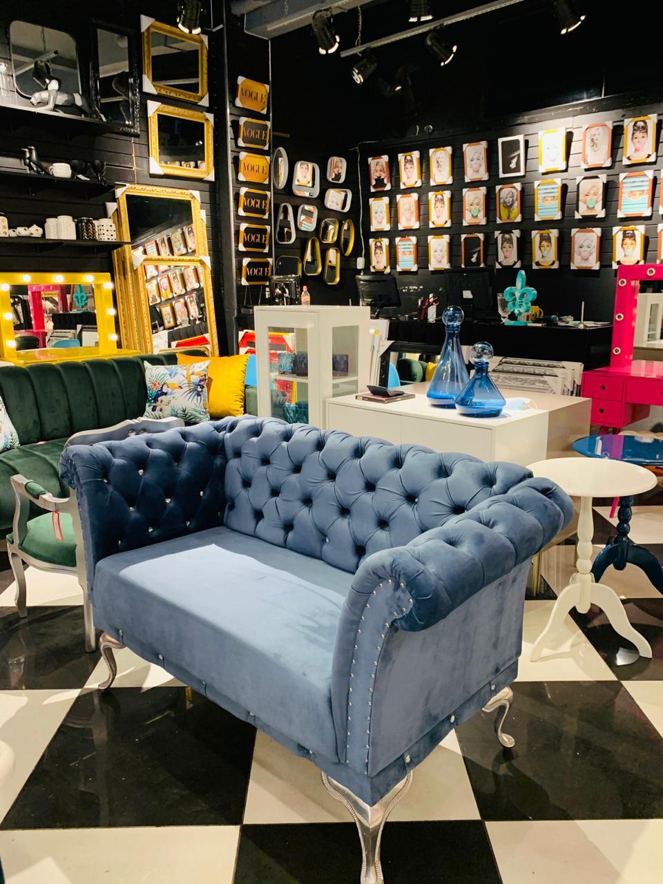 Sofá Queen 2 Lugares Azul Claro