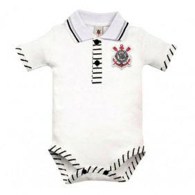Body Bebê Manga Curta Polo Menino Corinthians