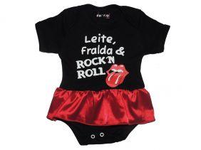 Body Bebê Saia Leite Fralda e Rock Roll