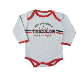 716f4321c473 Body Longo Bebê Frases Meu Coração é do Tricolor