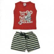 Conjunto Bebê menino Camiseta Regata e Bermuda Hipopotamo