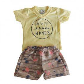 Conjunto Curto Bebê Menino Camiseta e Bermuda Estampada