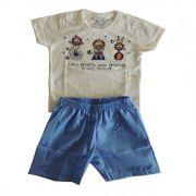 Conjunto Curto Bebê Menino Camiseta e Bermuda Piruetas