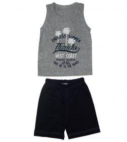 Conjunto Infantil Camiseta Regata Florida e Bermuda