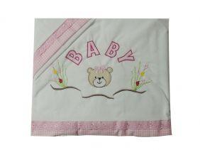 Lençol de Berço 3 Peças bordado Ursinha Baby