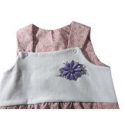 Macacão Regata Infantil Flor Bebê Menina