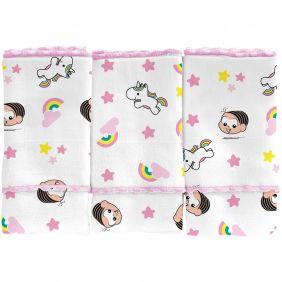 Pano de Boca 3 Peças Turma da Mônica Baby Menina