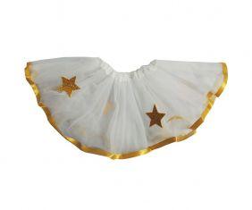 Saia de Tutu  Infantil Estrelinhas - Branco com Dourado