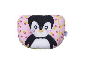 Travesseiro Anatômico Bebê com Estampa de Pinguin - Rosa