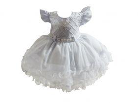Vestido Bebê Branco Pérolas - Tam P ao G