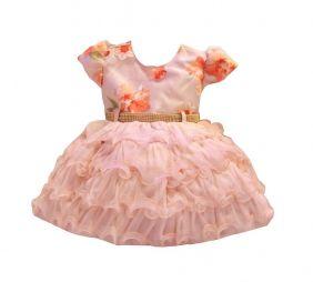 Vestido de Bebê Estampado Floral Menina Bonita