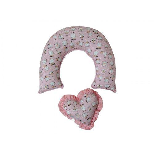 Almofada de Amamentação Ovelhinha com Coração Rosa