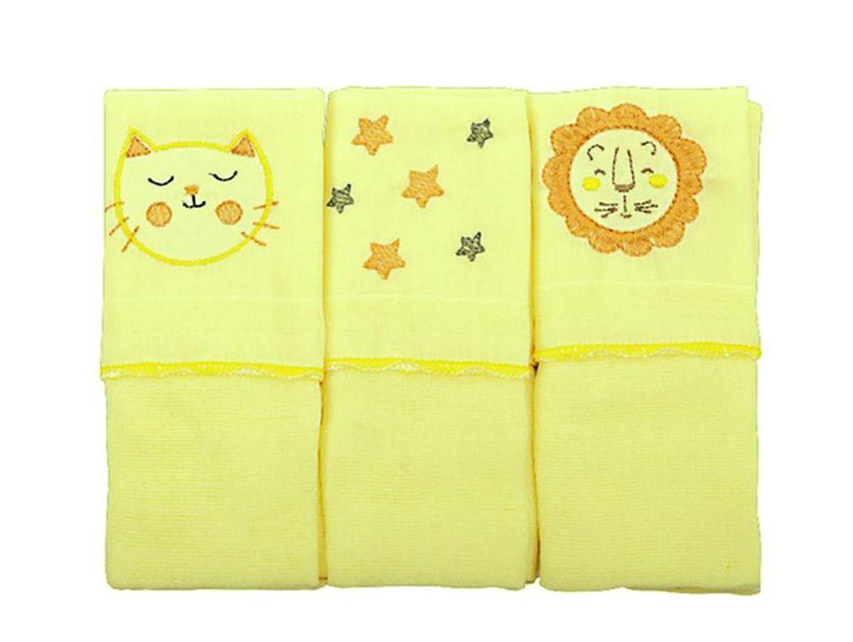 Babete com 3 peças Bordada - Amarelo