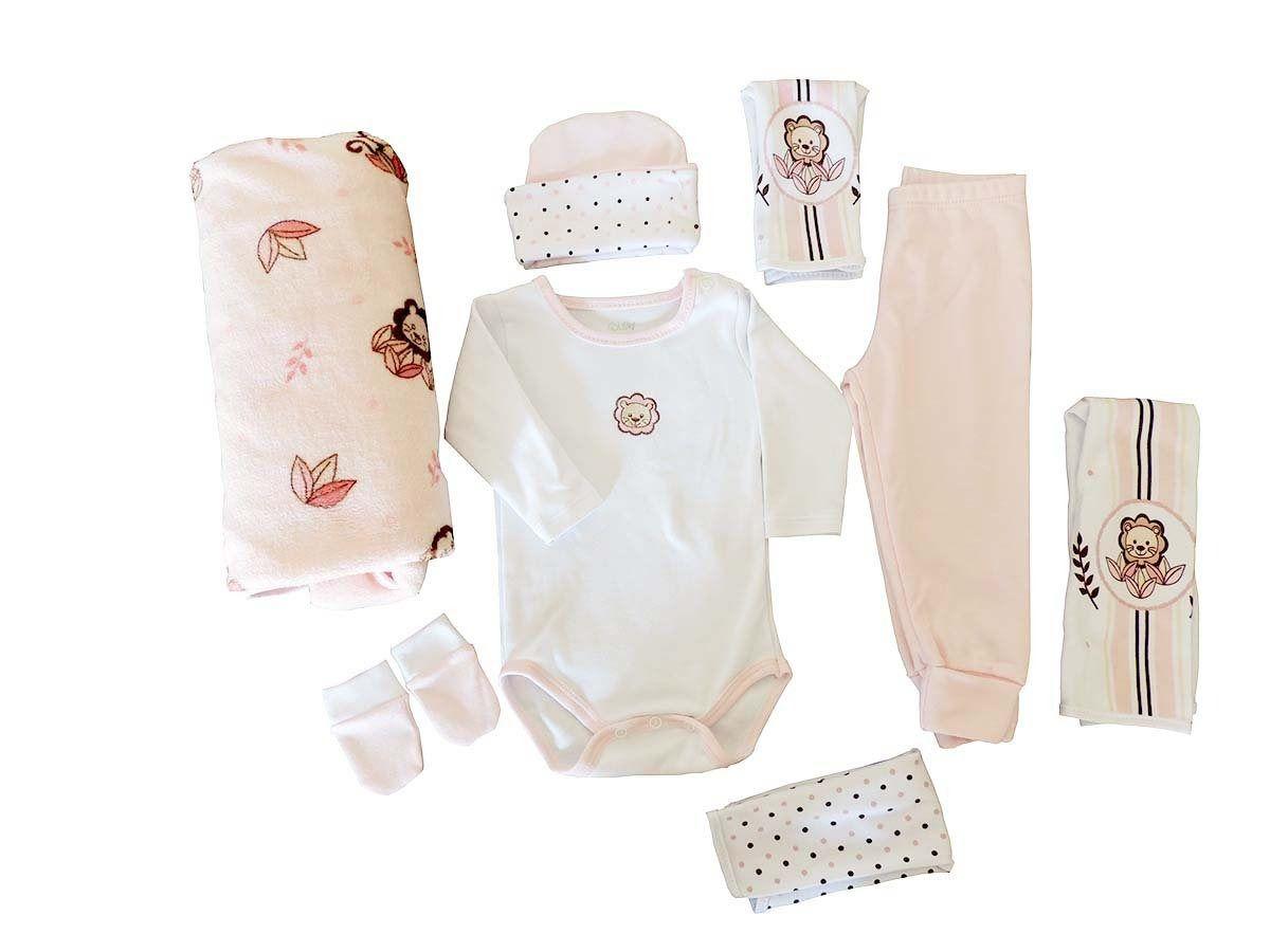 Baby Kit Presente Bebê Jungle Bordado Rosa Colibri
