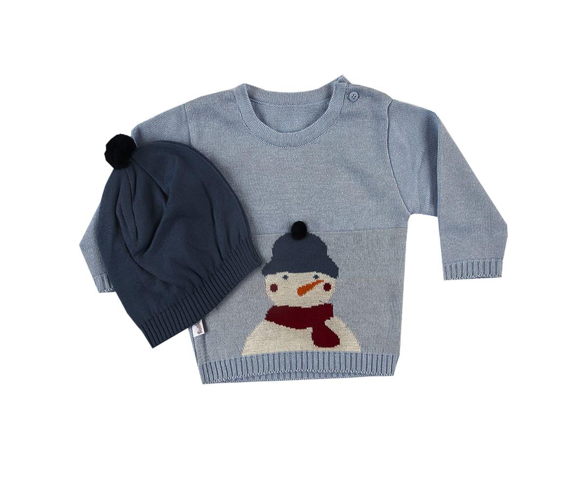 Blusa de Bebê Suéter em Trico Boneco de Neve Com Gorro