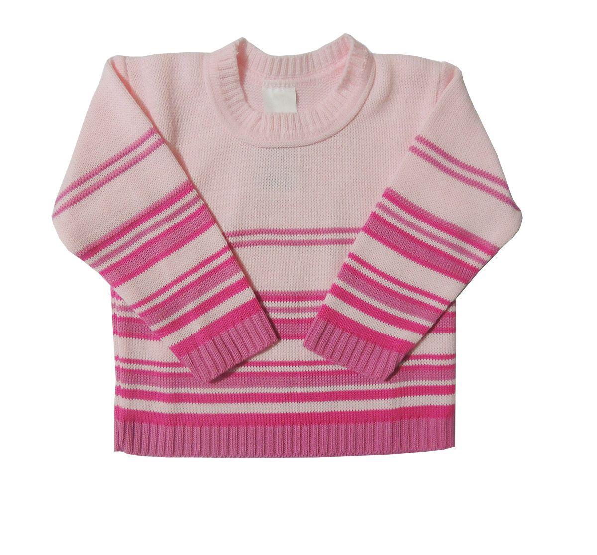 Blusa de Lã em Tricot Infantil com Listras Menina