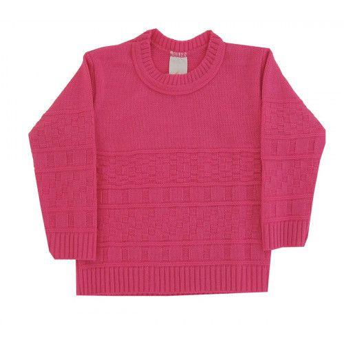 Blusa de Lã em Tricot Infantil Feminino - Quadros