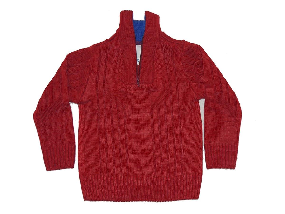 Blusa de Lã em Tricot Infantil Masculino Gola Ziper