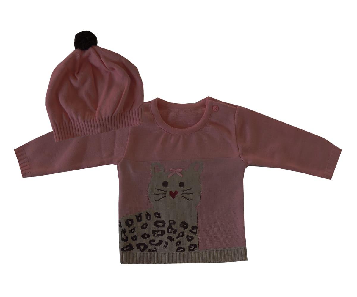 Blusa em Trico Bebê Com Touca Menina