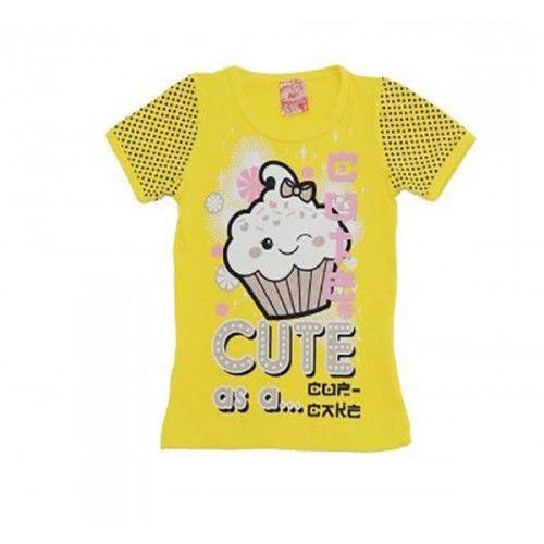 Blusinha Infantil Menina com Estampa Cupcake Amarelo