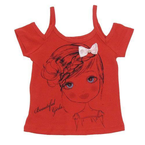 Blusinha Infantil Menina com Lacinho Vermelho