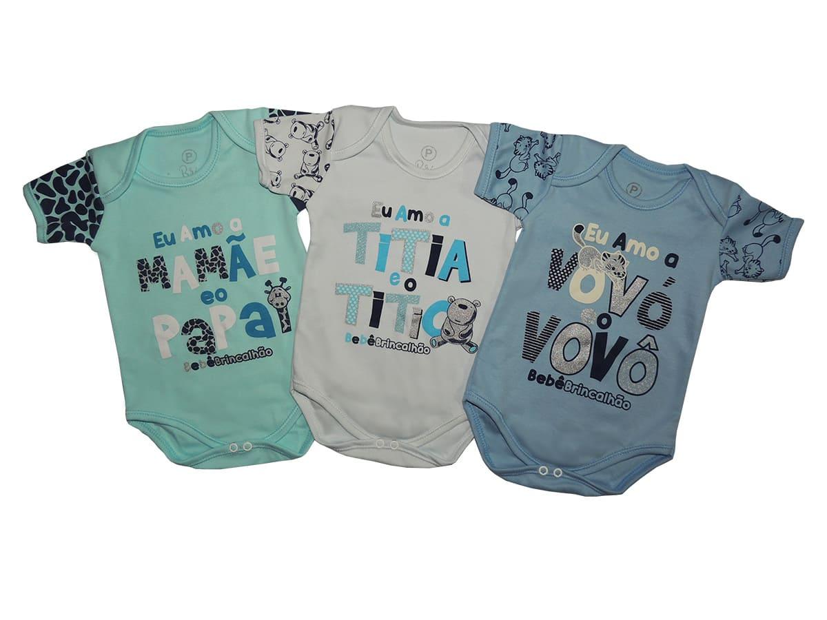 Body Bebê 3 Peças com Frases Divertidas Bebê Brincalhão