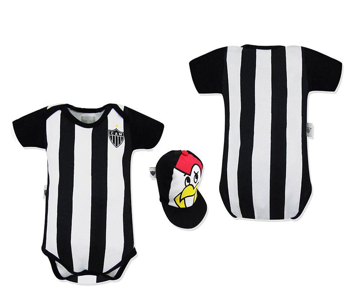 Body Bebê Atlético Mineiro Mascote com Boné Oficial