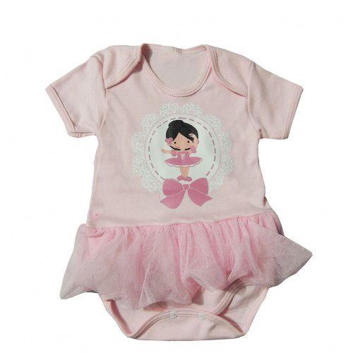 Body Bebê Bailarina com Saia Rosa