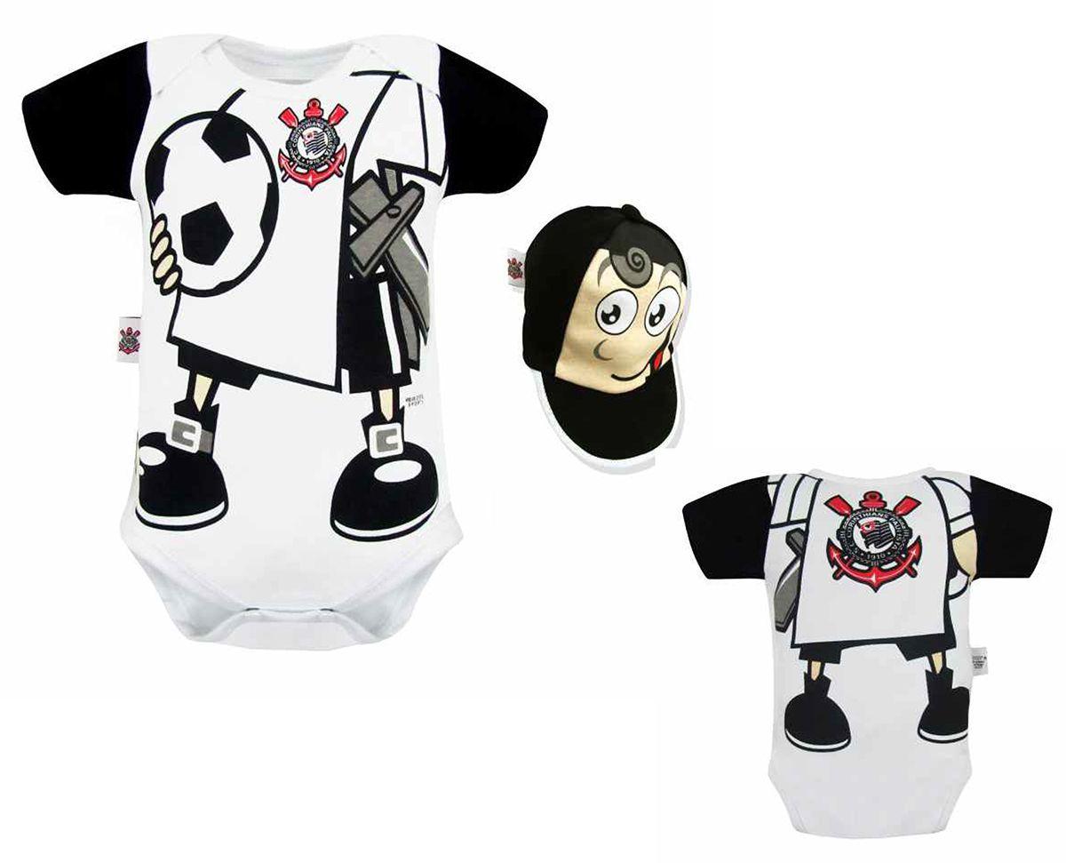Body Bebê Corinthians Mascote com Boné Oficial