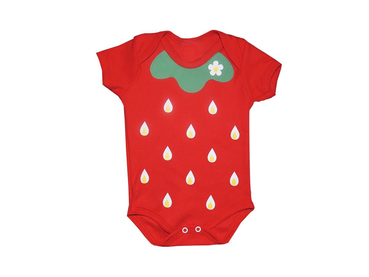 Body Bebê Estampa de Frutinha Morango