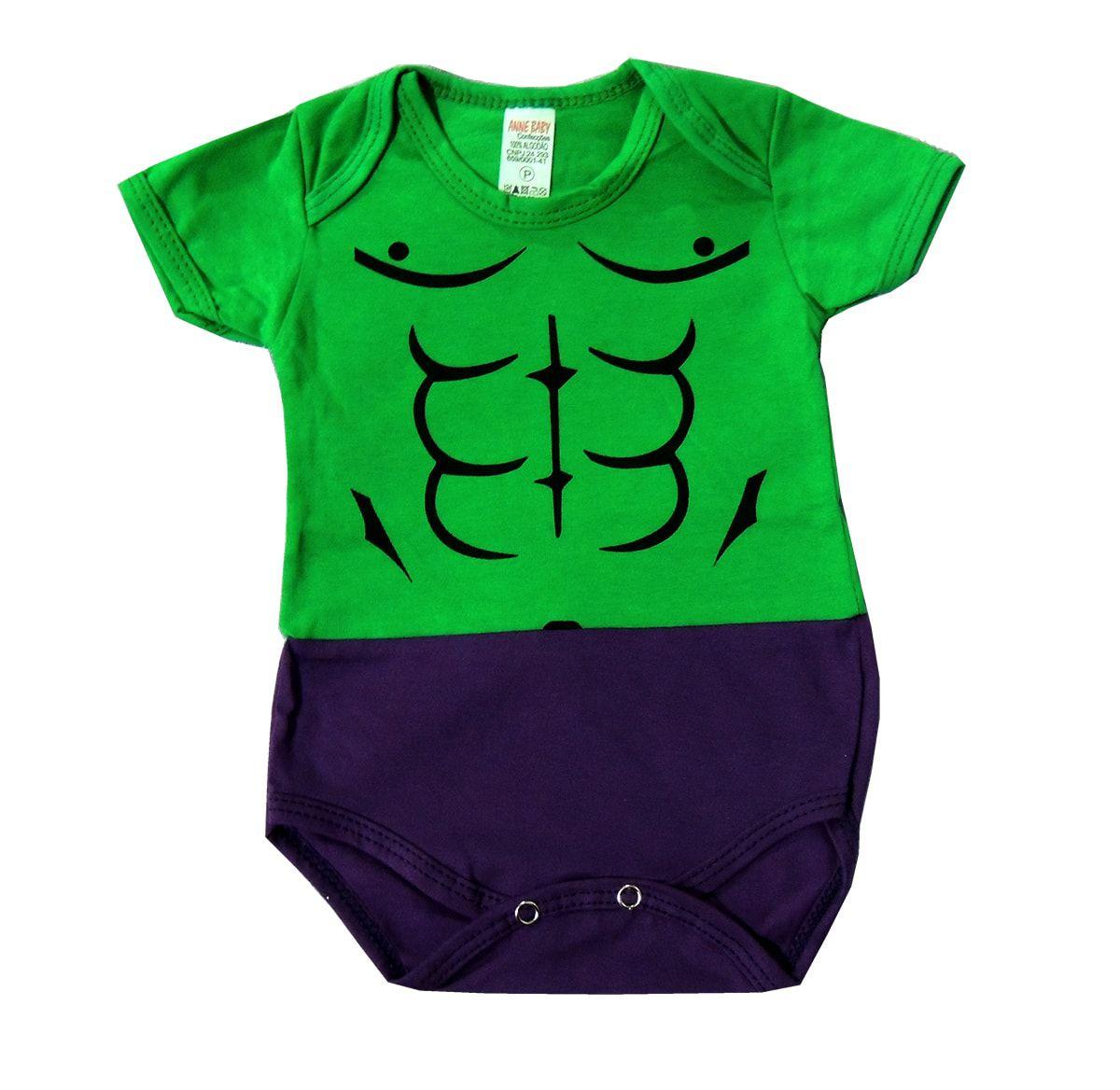 Body Bebê Incrível Hulk Manga Curta
