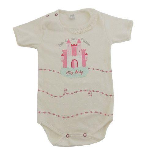 Body Bebê Manga Curta Castelo e Corações