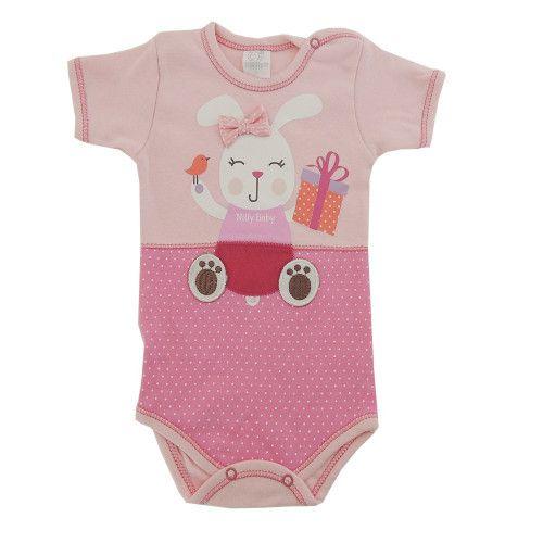 Body Bebê Manga Curta Coelhinha de Lacinho