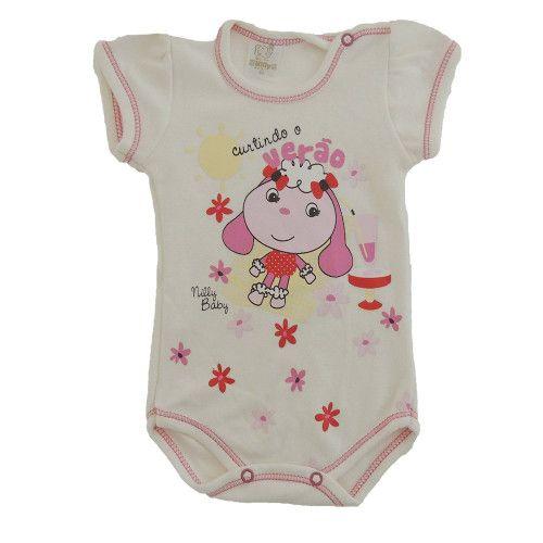 Body Bebê Manga Curta Estampa de Ovelhinha