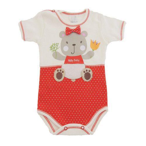 Body Bebê Manga Curta Estampa de Ursinha e Aplique de Laço