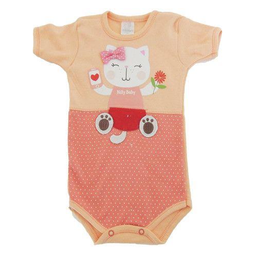 Body Bebê Manga Curta Gatinha de Laço