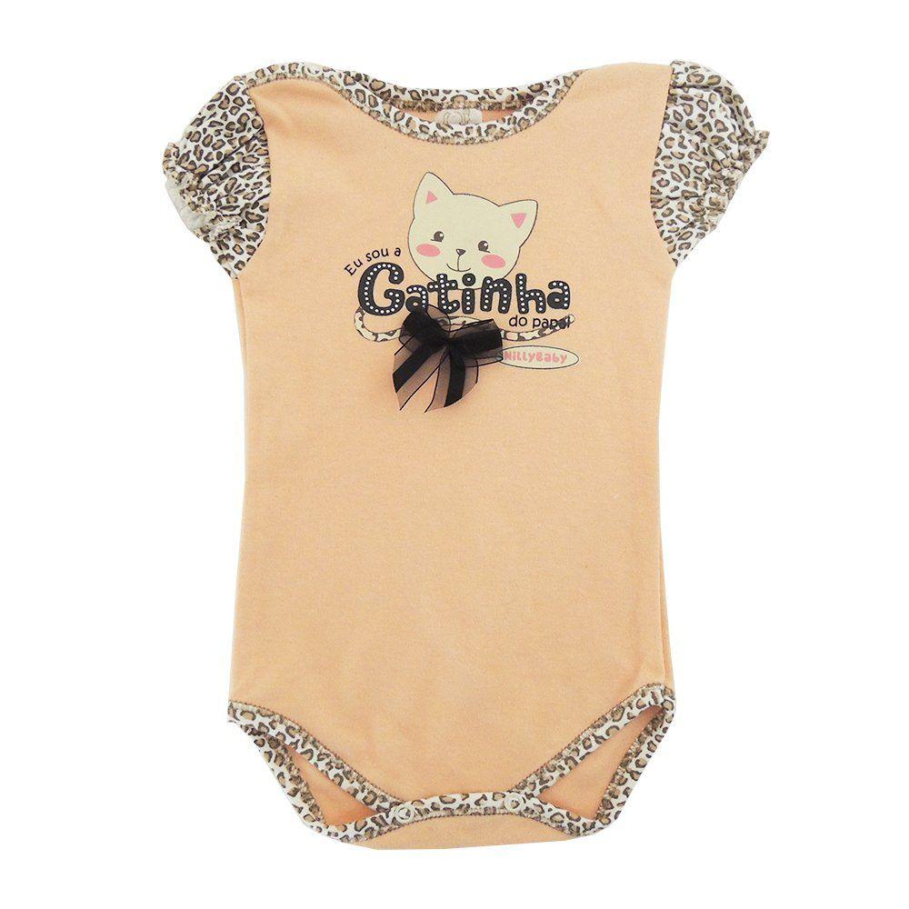 Body Bebê Manga Curta Gatinha do Papai