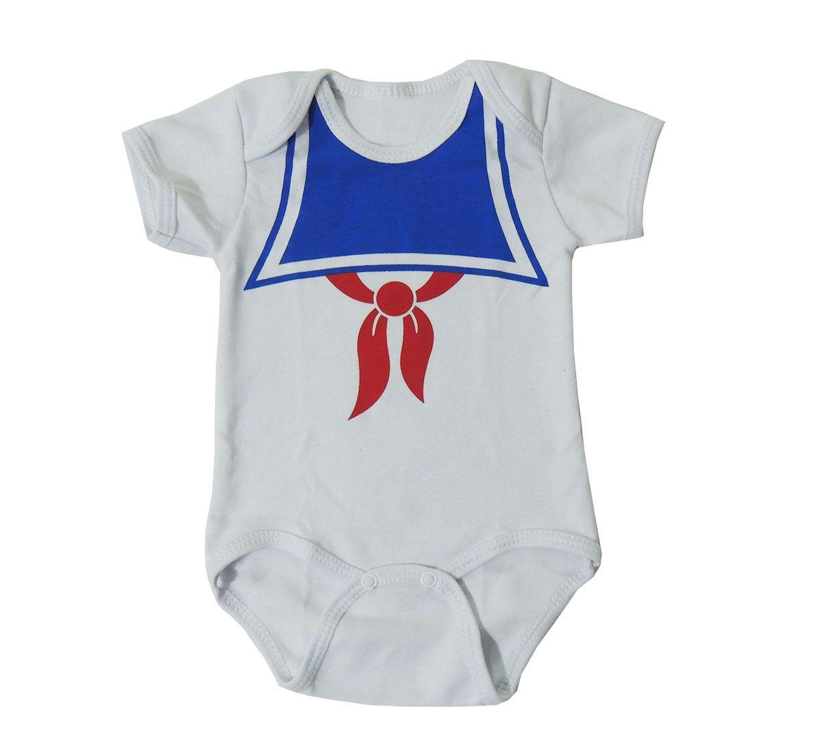 Body Bebê Manga Curta Marinheiro Branco