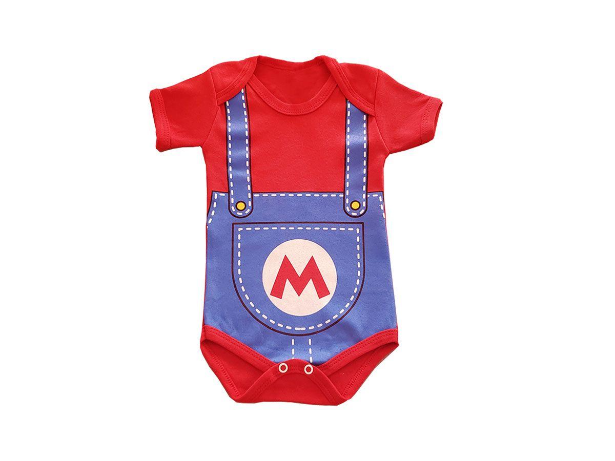 Body Bebê Manga Curta Mario Bros