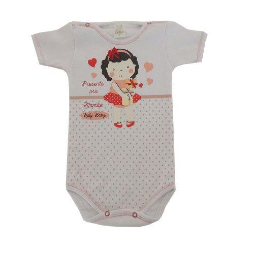 Body Bebê Manga Curta Menina de Laço