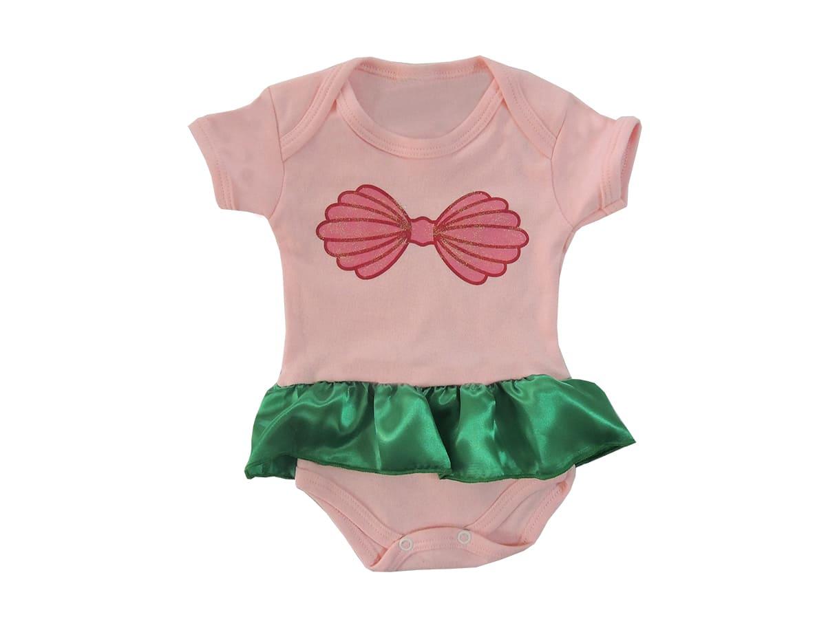 Body Bebê Manga Curta Pequena Sereia Com Saia