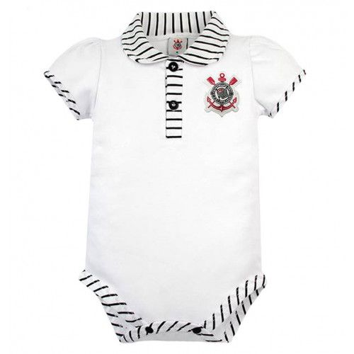 Body Bebê Manga Curta Polo Menina Corinthians