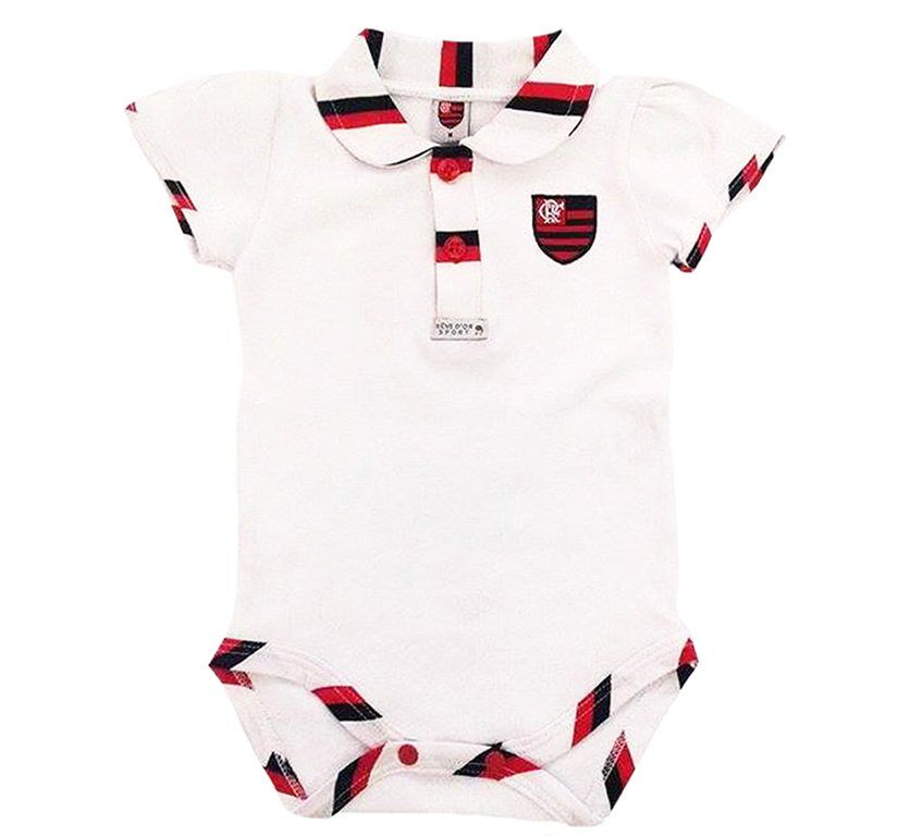 Body Bebê Manga Curta Polo Menina Flamengo