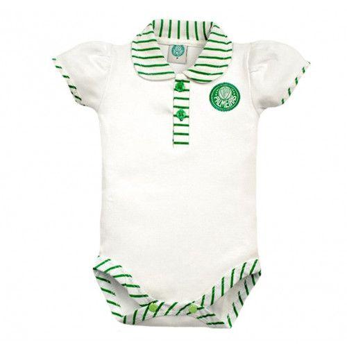 Body Bebê Manga Curta Polo Menina Palmeiras