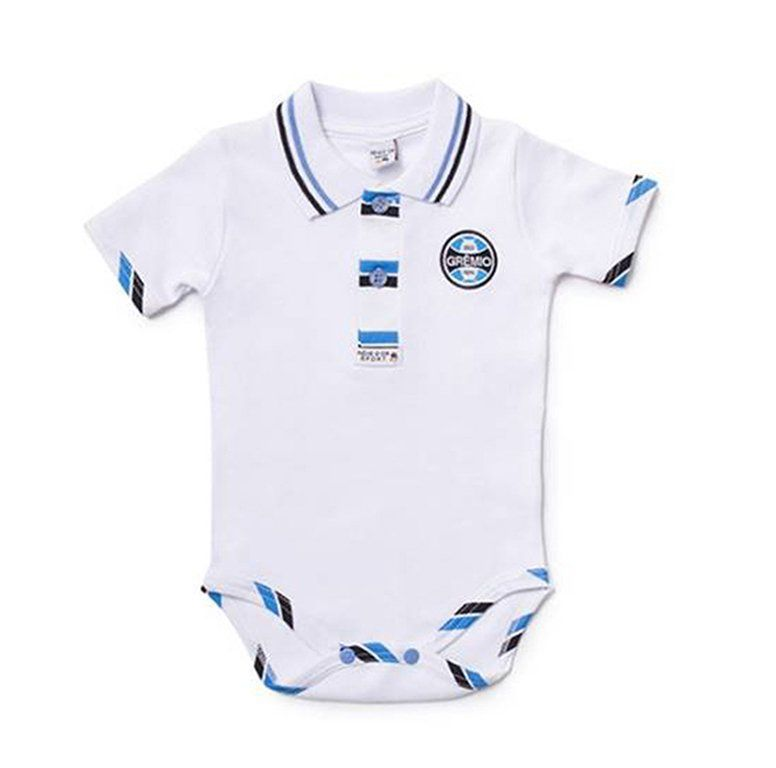 Body Bebê Manga Curta Polo Menino Grêmio