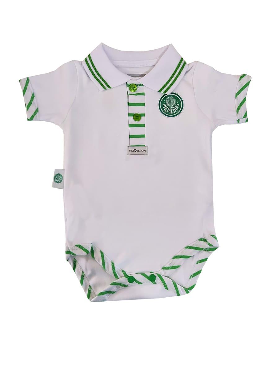 Body Bebê Manga Curta Polo Menino Palmeiras