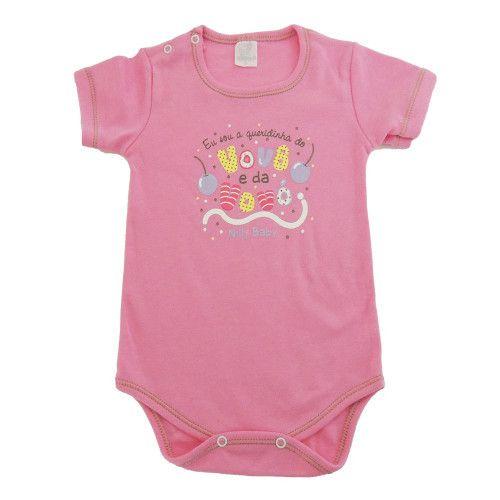 Body Bebê Manga Curta Queridinha do Vovô e da Vovó