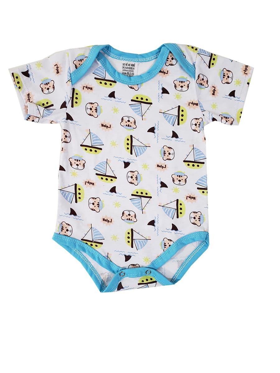 Body Bebê Manga Curta Ursinho Marinheiro