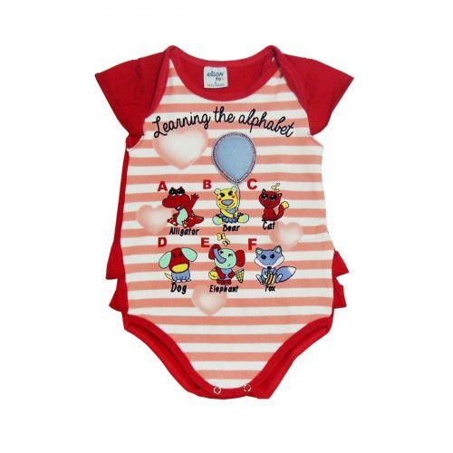 Body Bebê Manga Curta Vermelho com Estampa de bichos