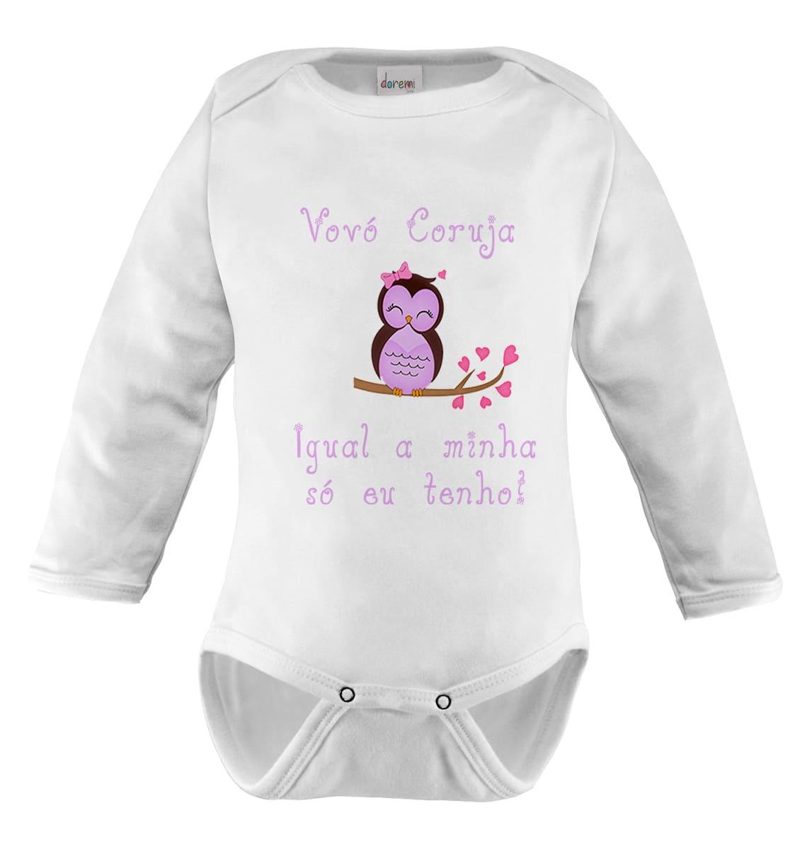 Body Bebê Manga Longa Personalizado Frases Vovó Coruja